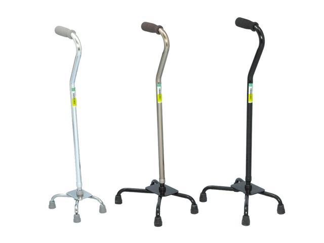Essential Medical Supply Home Outdoor Large Base Aluminum Quad Cane Foam Handle With Adjustable Height - Black