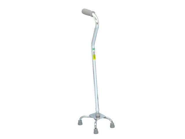 Essential Medical Supply Home Outdoor Large Base Aluminum Quad Cane Foam Handle With Adjustable Height - Silver