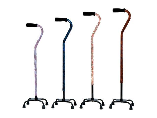 Essential Medical Supply Home Outdoor Designer Small Base Quad Cane Foam Handle With Adjustable Height 29