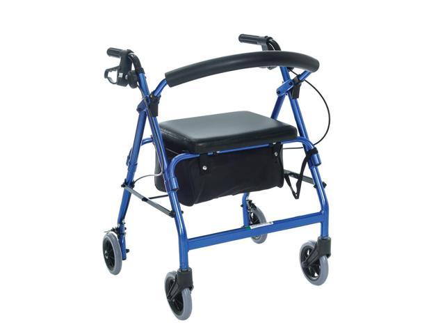 Essential Medical Supply Health Care Hospital Patient Featherlight 4 Wheel Walker w/Loop Hand Brakes - Blue