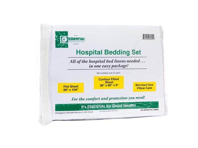 Essential Medical Supply Patient Health Care Mattress Cover Hospital Bed Set With Knit Fitted Sheet, Flat Sheet And Pillowcase