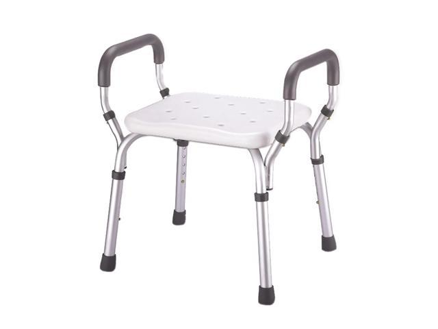 Essential Medical Supply Home Care Patient Bath Safety Tub Chair Molded Shower Seat Bench with Arms No-Back
