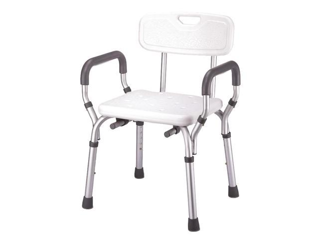 Essential Medical Supply Home Care Patient Bath Safety Molded Shower Bench with Arms and Back