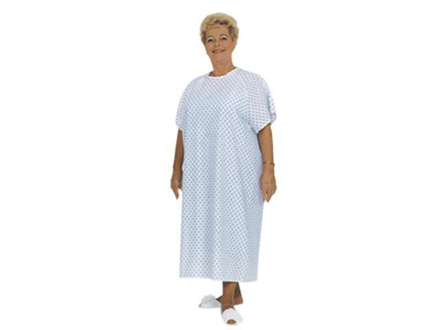 Essential Medical Supply Home Care Hospital Patient Dress Standard Gown - Print /Print on Light Blue