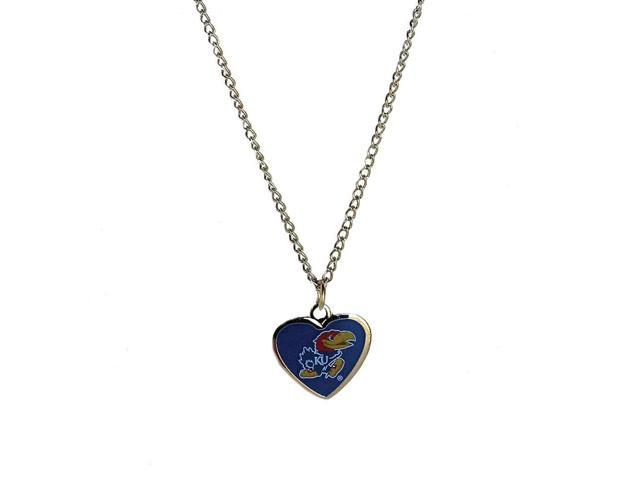 NCAA Kansas Jayhawks Team Logo Heart Shaped Pendant Necklace Charm Gift