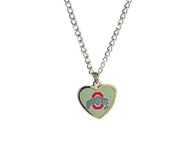 NCAA Ohio State Buckeyes Team Logo Heart Shaped Pendant Necklace Charm Gift