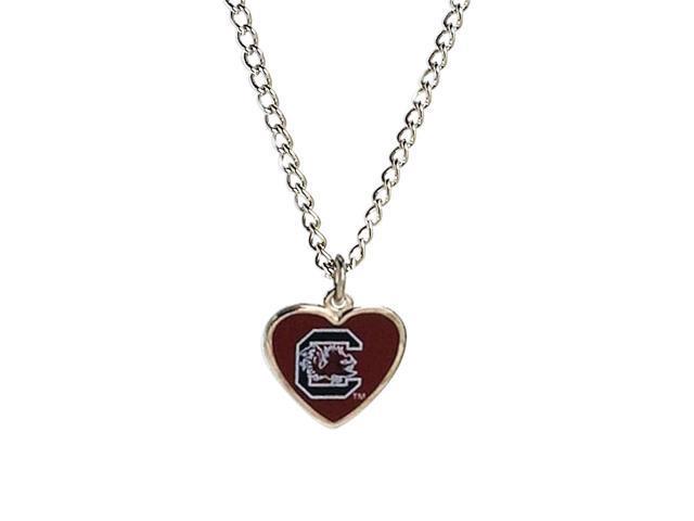 NCAA South Carolina Gamecocks Team Logo Heart Shaped Pendant Necklace Charm Gift