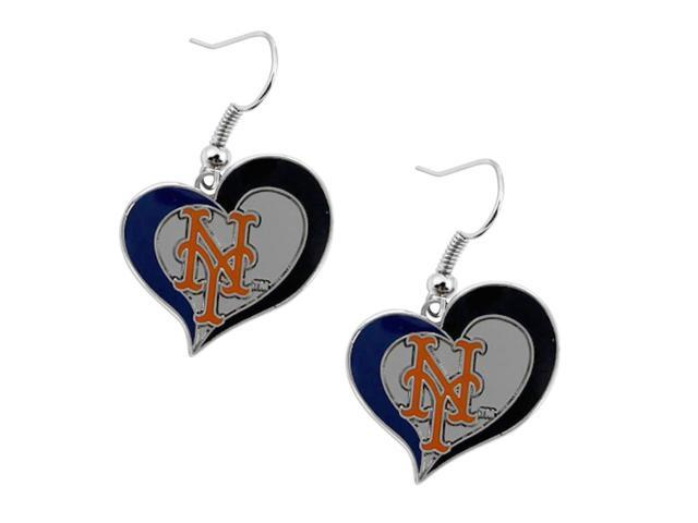 MLB New York Mets Team Logo Swirl Heart Dangle Earring Charm Gift Set