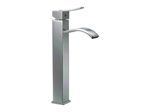 ALFI Brand AB1158 Tall Brushed Nickel Tall Square Body Curved Spout Single Lever Bathroom Faucet