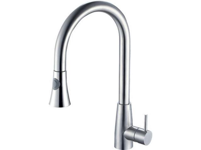 ALFI Brand Solid Polished Stainless Steel Pull Down Single Hole Kitchen Faucet