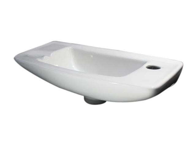 ALFI Brand AB103 Small White Wall Mounted Porcelain Bathroom Sink Basin