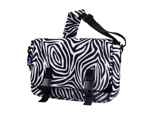 Wildkin Children Kids School Outdoor Camping Travel Accessories Zebra Jumpstart Messenger Bag Black