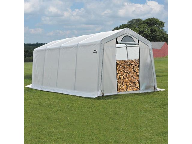 ShelterLogic 10 x 20 x 8 Seasoning Shed; 5.5oz Clear PE Cover
