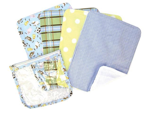 Trend Lab Nursery Kids  Gift Set - Baby Barnyard Zipper Pouch And 4 Burp Cloths