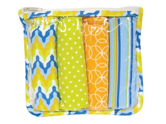 Trend Lab Nursery Kids Baby Gift Set - Levi Zipper Pouch And 4 Burp Cloths