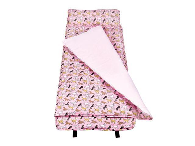 Wildkin Kids Children Home Camping Hiking Sleep Bag Horses in Pink Nap Mat Pink