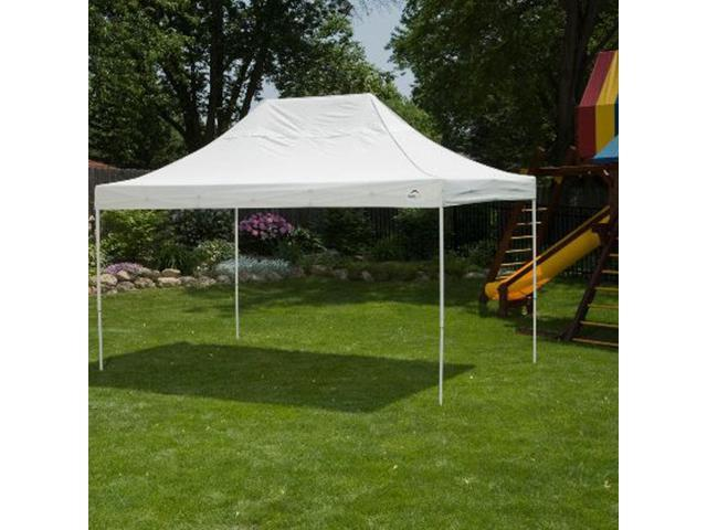 ShelterLogic Outdoor Sun Shade 10x15 ST Pop-up Canopy White Cover Black Roller Bag
