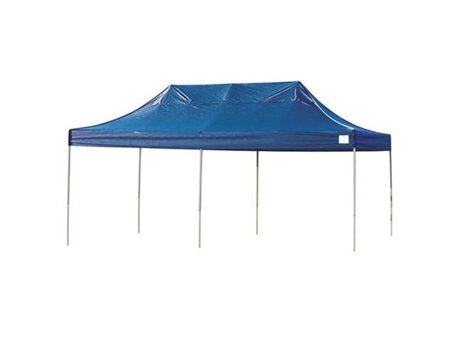 ShelterLogic Sun Shade 10x20 ST Pop-up Canopy Blue Cover Black Roller Bag