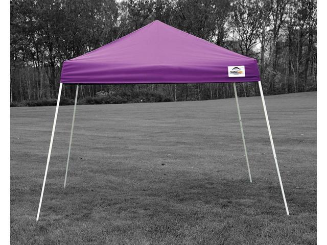 ShelterLogic Outdoor Sun Shade 10x10 SL Pop-up Canopy Purple Cover Black Roller Bag