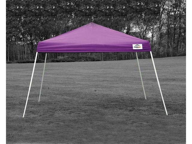 ShelterLogic Outdoor Sun Shade 12x12 SL Pop-up Canopy Purple Cover Black Roller Bag