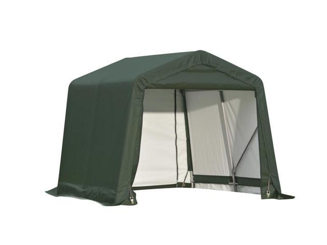 Shelterlogic Outdoor Garage Automotive Boat Car Vehicle Storage Shed 8x8x8 Peak Style Shelter Green Cover