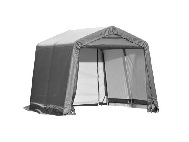 Shelterlogic Outdoor Garage Automotive Boat Car Vehicle Storage Shed 11x8x10 Peak Style Shelter Grey Cover