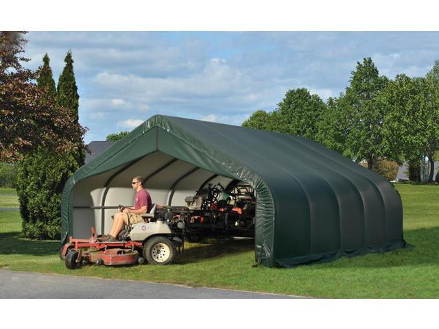 Shelterlogic Outdoor Garage Automotive Boat Car Vehicle Storage Shed 18x20x10 Peak Style Shelter Green Cover