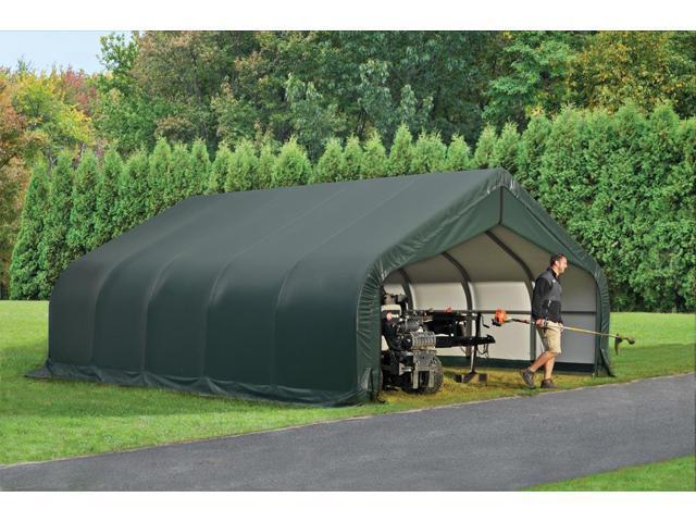 Shelterlogic Outdoor Garage Automotive Boat Car Vehicle Storage Shed 18x24x10 Peak Style Shelter Green Cover