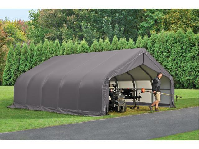 Shelterlogic Outdoor Garage Automotive Boat Car Vehicle Storage Shed 18x20x12 Peak Style Shelter Grey Cover