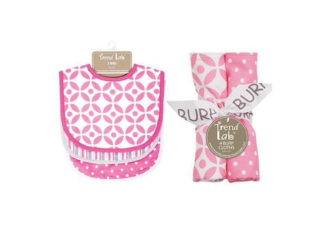 Trend Lab Lily 3 Pack Bib and Burp Cloth Set