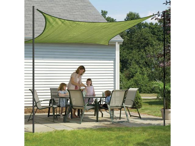Shelter Logic Outdoor Party Patio Lawn Garden Sun Shade 16 ft. / 4,9 m Square Shade SailLime Green 230 gsm