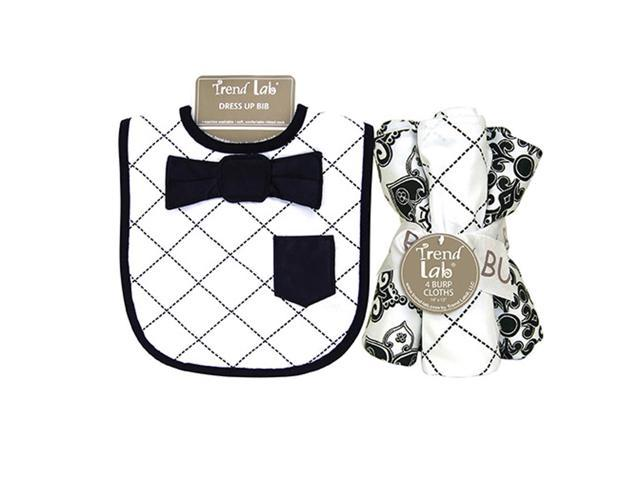 Trend Lab Versailles Black And White Kids Baby Gift Decorative Accessories Dress Up  Bib And Burp Cloth Set