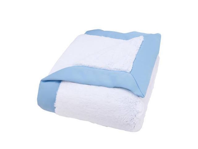 Trend Lab Kids Receiving Blanket - Framed Blue Peek-A-Boo Faux Fur