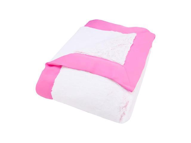 Trend Lab Kids Receiving Blanket - Framed Pink Peek-A-Boo Faux Fur