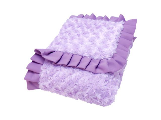 Trend Lab Ruffle Trimmed Lilac and Plum Swirl Velour Kids Receiving Blanket