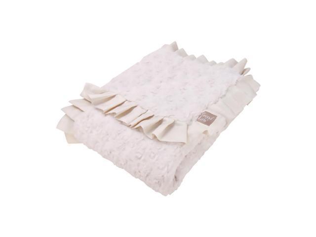 Trend Lab Ruffle Trimmed Cream Swirl Velour Kids Receiving Blanket
