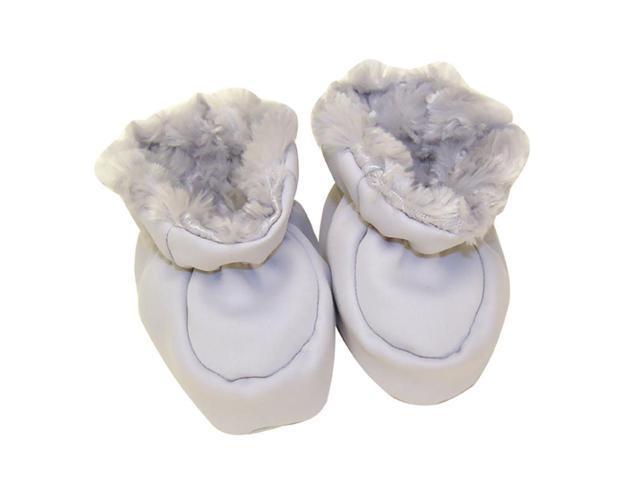 Trend Lab Kids Baby Booties - Gray Swirl Velour And Matte Satin