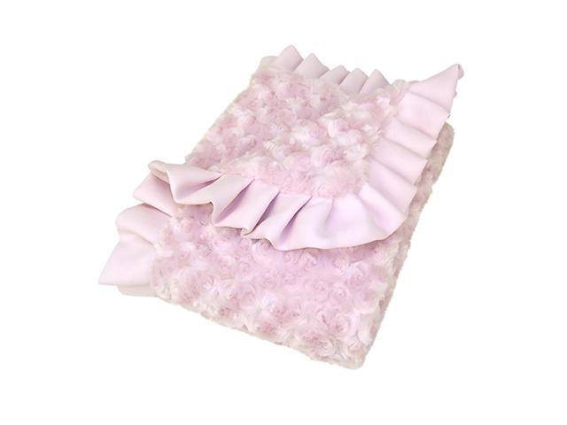 Trend Lab Baby Receiving Blanket - Ruffle Trimmed Pink Swirl Velour