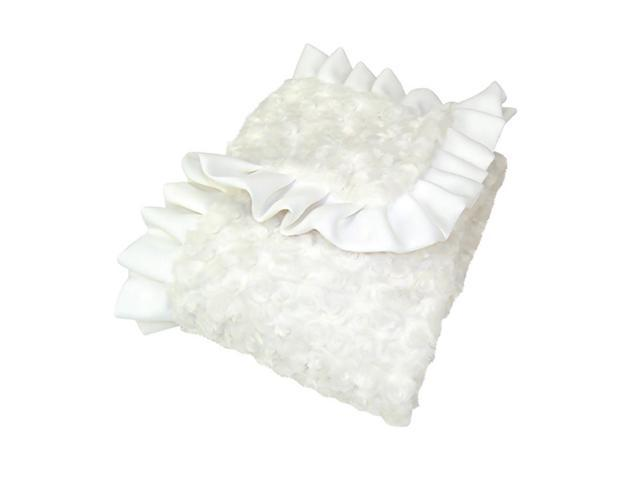 Trend Lab Baby Receiving Blanket - Ruffle Trimmed White Swirl Velour