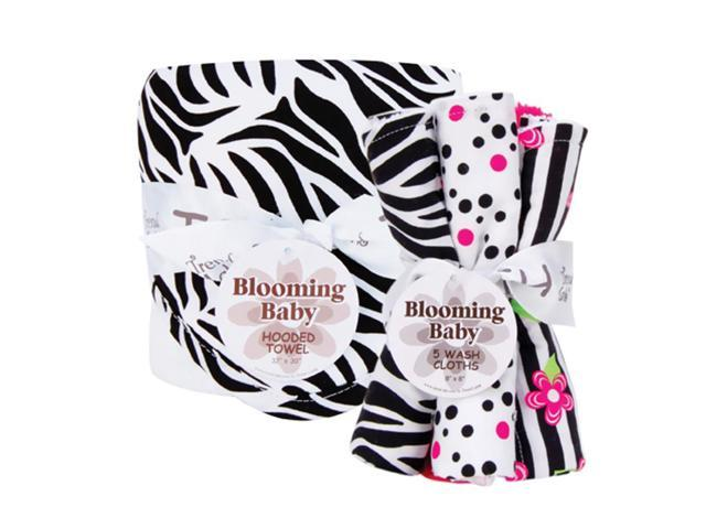Trend Lab 20991 Hooded Towel & Wash Cloth Bouquet Set - Black/White Zebra