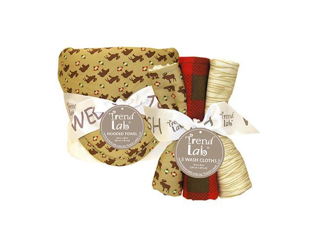Trend-Lab Bouquet Set - Northwoods - Hooded Towel & Wash Cloth