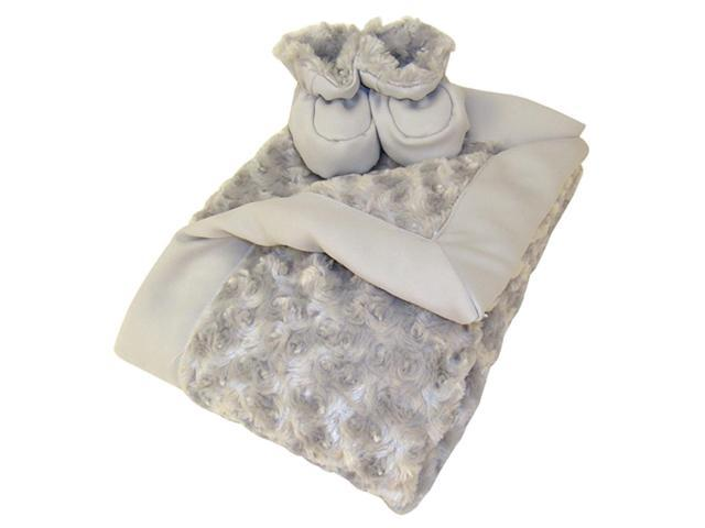 Trend-Lab Luxe Gift Set - Gray Swirl Velour Blanket And Booties
