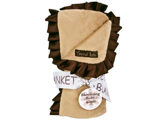 Receiving Blanket - Ruffle Trimmed Caramel And Brown