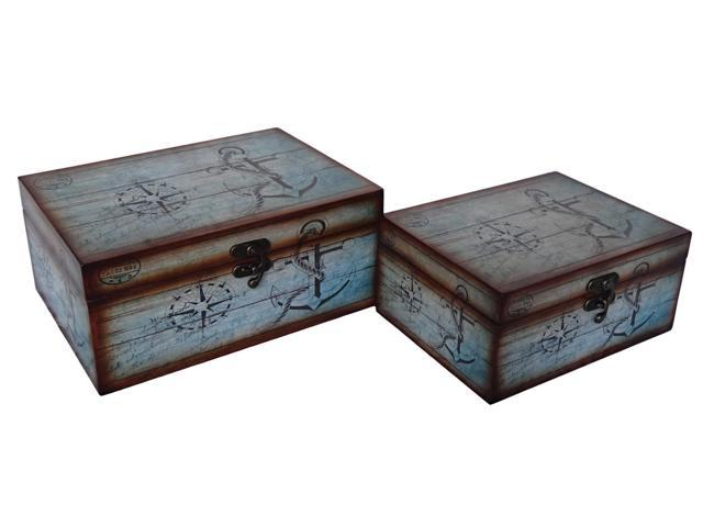 Cheungs Indoor Home Decorative Set of 2 Nautical Treasure Box