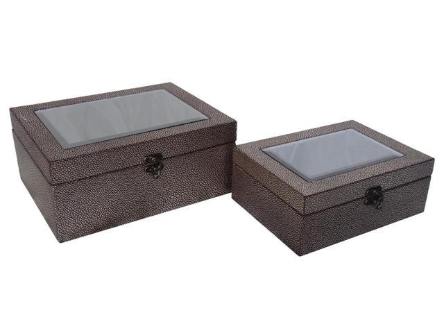 Cheungs Indoor Home Decorative Set of 2 Gold Treasure Box with Bevelled Mirror Top Bronze-Gold
