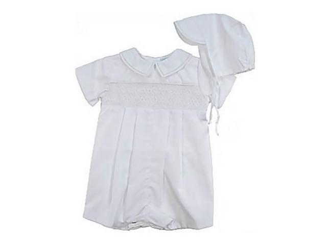 Babygiftidea Newborn Smocked Embroidered Christening Romper Outfit For Boys