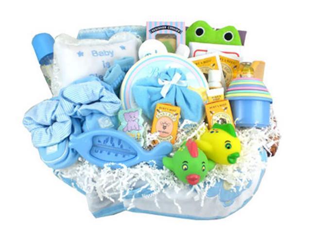 Babygiftidea Newborn Essential Storage Everything Bath Time Gift Basket Blue