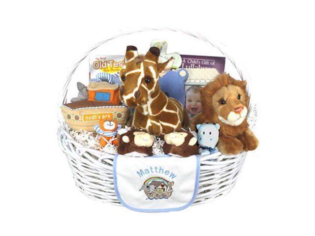 Babygiftidea Newborn Storage Personalized Noah's Ark Baby Gift Basket Blue