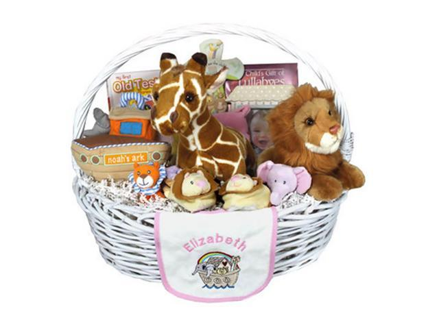 Babygiftidea Newborn Essential Personalized Noah's Ark Baby Gift Basket Pink