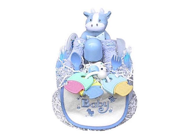 Babygiftidea Decorative  Newborn Baby Shower Gift 1 Tier Boy's Diaper Cake